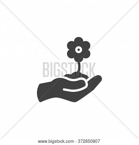 Hand With Flower Vector Icon. Filled Flat Sign For Mobile Concept And Web Design. Hand Grow Flower G