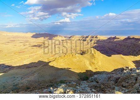 View Of Hamakhtesh Hakatan (small Makhtesh, Crater). The Negev Desert, Southern Israel