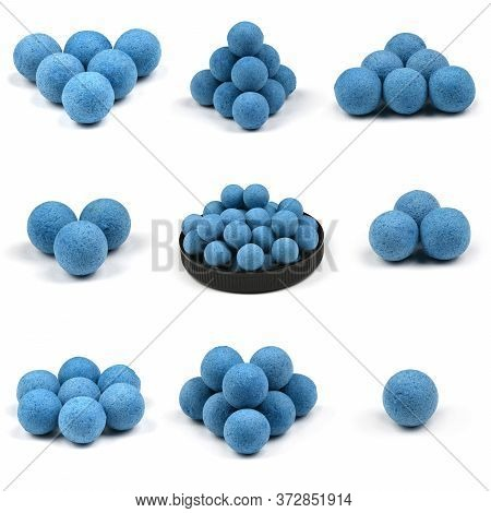 Nine Close Up View Of Blue Boilies, Fishing Baits For Carp Isolated On White Background. High Resolu