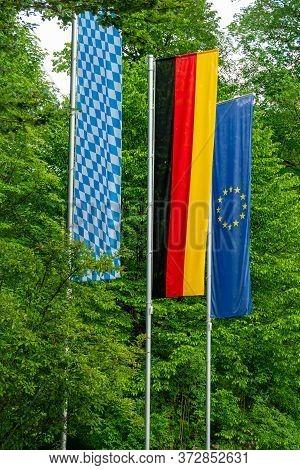 Bavarian, German And European Flag. High Quality Photo
