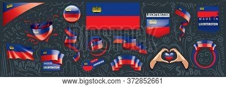 Vector Set Of The National Flag Of Liechtenstein In Various Creative Designs