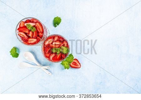 Italian Dessert Of Strawberry Juice And Sweetened Cream Thickened With Gelatin On A Light Background
