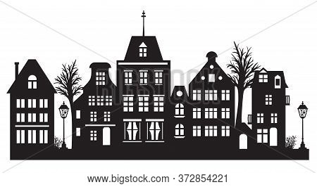 Laser Cut Amsterdam Style Houses. Silhouette Of Row Typical Dutch Canal Houses At Netherlands. Styli