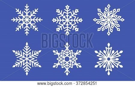 Set Of Laser Cutting Openwork Snowflakes. Christmas Decoration. Template For Cut Out Paper Snowflake