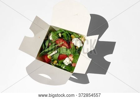 White Paper Food Box, Fast Food. Take Away Food Delivery. Takeout Summer Salad.