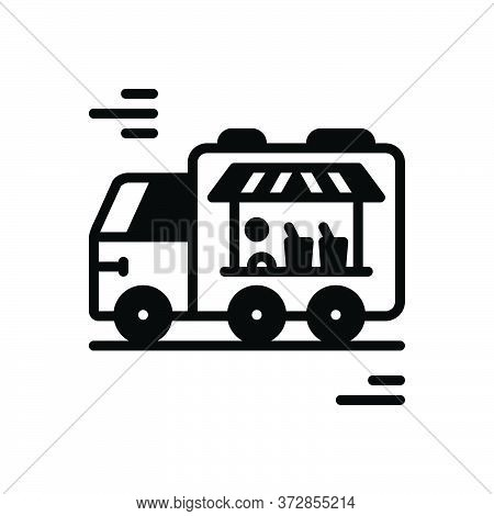 Black Solid Icon For Food-truck  Food Truck Catering Restaurant Kitchen Foodies Serving