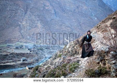 Tibetan Peasant Woman With Basket