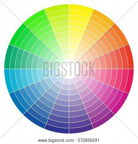 Color Spectrum Abstract Wheel, Colorful Diagram Background. Color Wheel Isolated On White Background