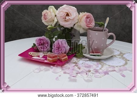 Framed With A Pink Frame, On A Lace Napkin Is A Bouquet Of Roses, On A Plate Are Two Roses, Marmalad