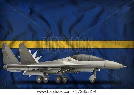 Fighter, Interceptor On The Nauru Flag Background. 3d Illustration