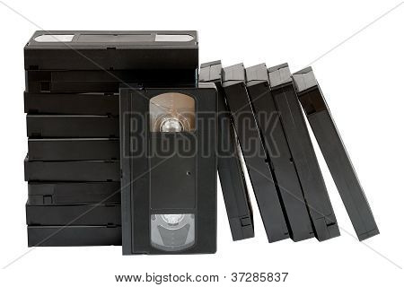 Stack Of Old Vhs Video Cassettes Isolated On White Background
