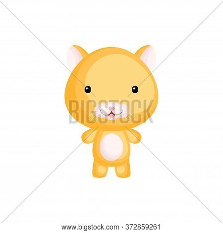 Cute Funny Baby Hamster Isolated On White Background. Adorable Animal Character For Design Of Album,