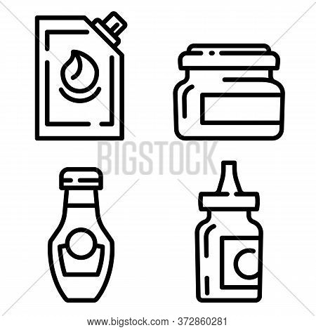 Mustard Icons Set. Outline Set Of Mustard Vector Icons For Web Design Isolated On White Background