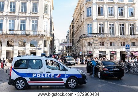 Bordeaux , Aquitaine / France - 06 14 2020 : Police Nationale Car And Sign Logo Sticker In French St