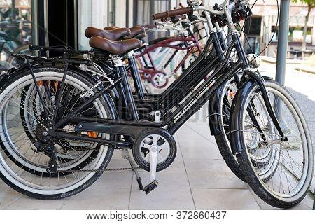 Bordeaux , Aquitaine / France - 06 14 2020 : Row Parked Lot Of Bikes On City Center Shop Parking To