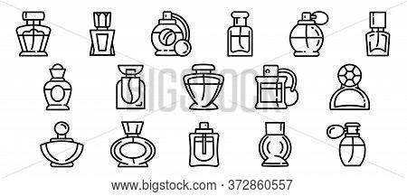 Fragrance Bottles Icons Set. Outline Set Of Fragrance Bottles Vector Icons For Web Design Isolated O