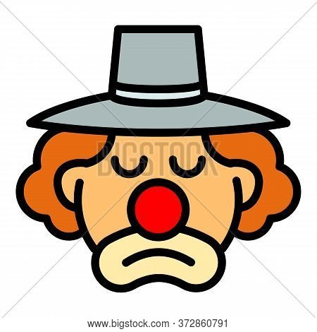 Sad Clown Icon. Outline Sad Clown Vector Icon For Web Design Isolated On White Background