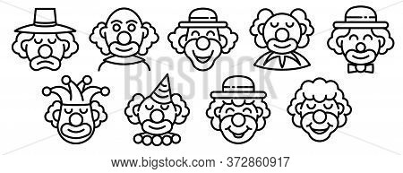 Clown Icons Set. Outline Set Of Clown Vector Icons For Web Design Isolated On White Background