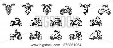 Motorbike Icons Set. Outline Set Of Motorbike Vector Icons For Web Design Isolated On White Backgrou