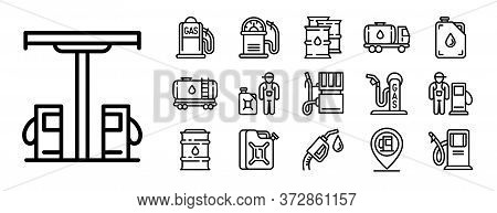 Petrol Station Icons Set. Outline Set Of Petrol Station Vector Icons For Web Design Isolated On Whit