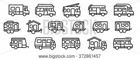 Motorhome Icons Set. Outline Set Of Motorhome Vector Icons For Web Design Isolated On White Backgrou