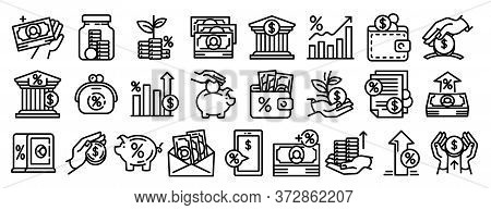 Deposit Icons Set. Outline Set Of Deposit Vector Icons For Web Design Isolated On White Background