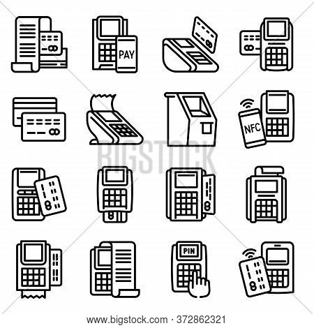Bank Terminal Icons Set. Outline Set Of Bank Terminal Vector Icons For Web Design Isolated On White