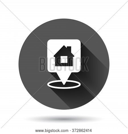 Home Pin Icon In Flat Style. House Navigation Vector Illustration On Black Round Background With Lon