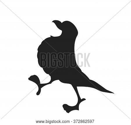 Vector Illustration Of A Bird, Drawing Silhouette, Vector, White Background
