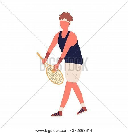 Colorful Active Male Big Tennis Player Holding Racket And Ball Vector Flat Illustration. Man In Spor