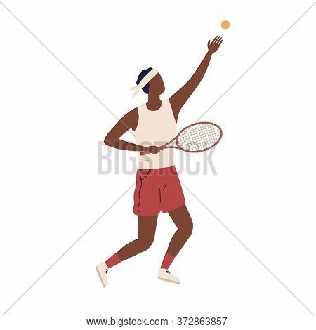 Professional Male Big Tennis Player Hold Rocket Vector Flat Illustration. Black Guy Tossing Up Ball
