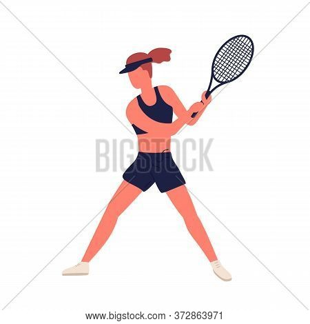 Athletic Woman In Sports Apparel Demonstrate Hitting Racket Vector Flat Illustration. Sportswoman Pr