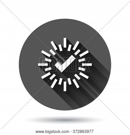 Check Mark Sign Icon In Flat Style. Confirm Button Vector Illustration On Black Round Background Wit