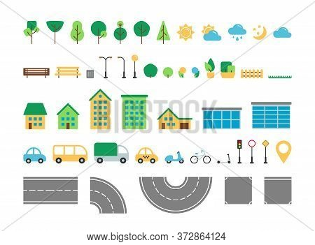 Flat Simple City Urban Elements Vector Set. Park And Street Outdoor Decor Constructor Collection. Tr