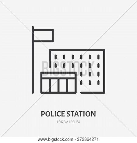 Police Station Line Icon, Vector Pictogram Of Jail. Prison Illustration, Sign For Public Building Ex