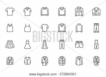 Clothing Line Icon Set. Dress, Polo T-shirt, Jeans, Winter Coat, Jacket Pants, Skirt Minimal Vector
