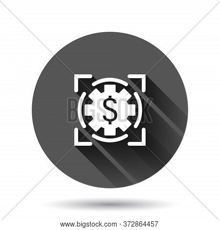 Money Revenue Icon In Flat Style. Dollar Coin Vector Illustration On Black Round Background With Lon