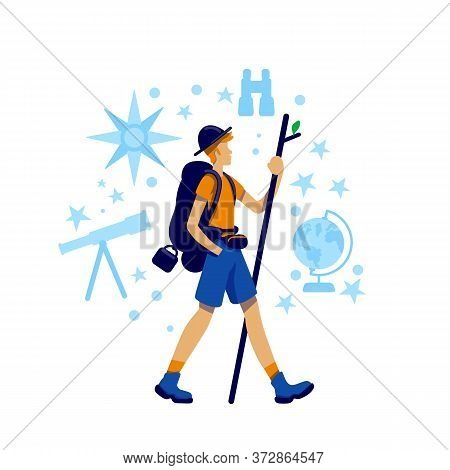 Housetrucking Flat Concept Vector Illustration. Trekker Discover Trail On Mountain. Adventure And Ca