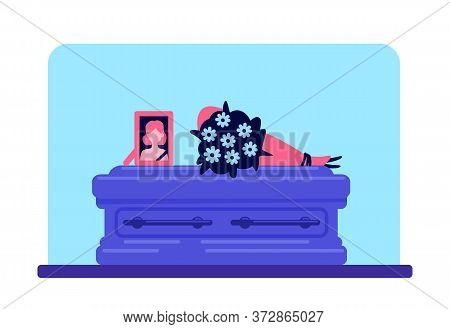 Dead Girl Coffin And Photo Flat Color Vector Illustration. Funeral Tradition. Burial Ceremony. Ritua