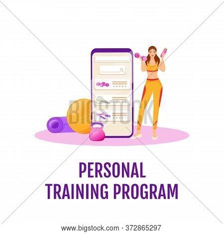 Personal Training Program Flat Concept Vector Illustration. Woman Online Exercise Plan. Mobile Appli