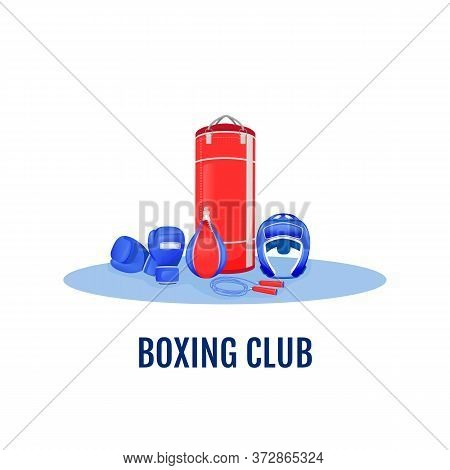 Boxing Club Flat Concept Vector Illustration. Gym To Exercise. Kickboxing Event. Fighter Practice. S
