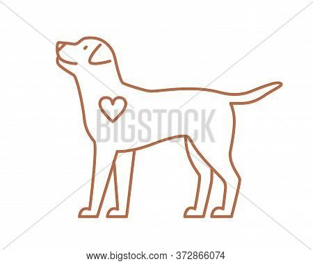 Cute Dog With Heart Vector Flat Illustration In Line Art Style. Funny Domestic Animal Isolated On Wh