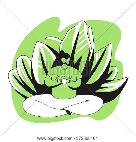 Vector Cartoon Flat Illustration With Meditating Girl Holding Sun In Her Heart. Positive Mood, Medit