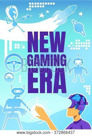 New Gaming Era Poster Flat Vector Template. Boy In Headset. Interactive Cyberspace. Brochure, Bookle