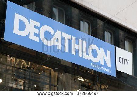 Bordeaux , Aquitaine / France - 06 01 2020 : Decathlon City Sign Store Logo In Shop Building In Bord
