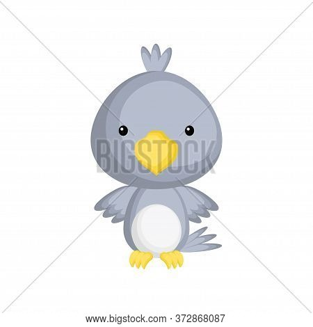 Cute Funny Baby Raven Isolated On White Background. Adorable Animal Character For Design Of Album, S
