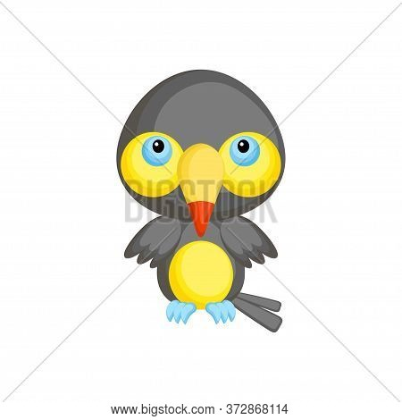 Cute Funny Baby Toucan Isolated On White Background. Tropical Adorable Animal Character For Design O