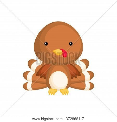 Cute Funny Baby Turkey Isolated On White Background. Adorable Animal Character For Design Of Album,