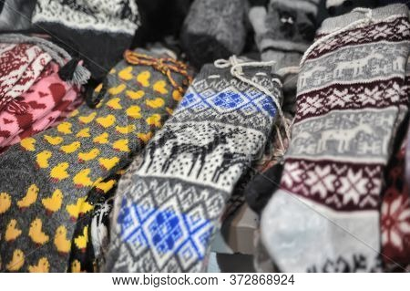 Traditional Estonian Knitted Woolen Socks And Socks For Sale