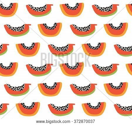 Orange Papaya Seamless Pattern. Exotic Summer Background. Tropical Sweet Fruit Slices With Pulp And